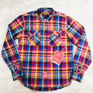 "Prps Goods & Co Pink Plaid Button Down Shirt ""NWT"""